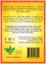 Naturally Nude Deodorant - 2.5 oz of 100% Edible Vegan Organic GMO Free Ingredients