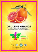 Opulent Orange Deodorant - 2.5 oz of 100% Edible Vegan Organic GMO Free Ingredients