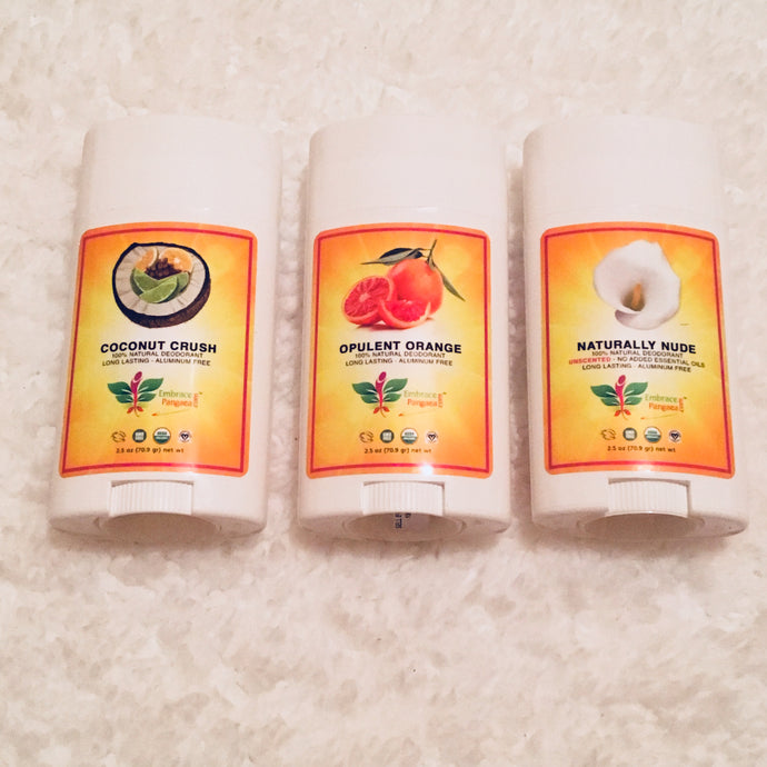 Natural Deodorant Trio Pack - 2.5 oz of 100% Edible Vegan Organic GMO Free Ingredients