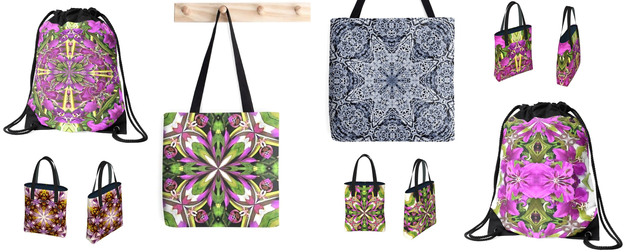 Botanical art print fashion bag collection