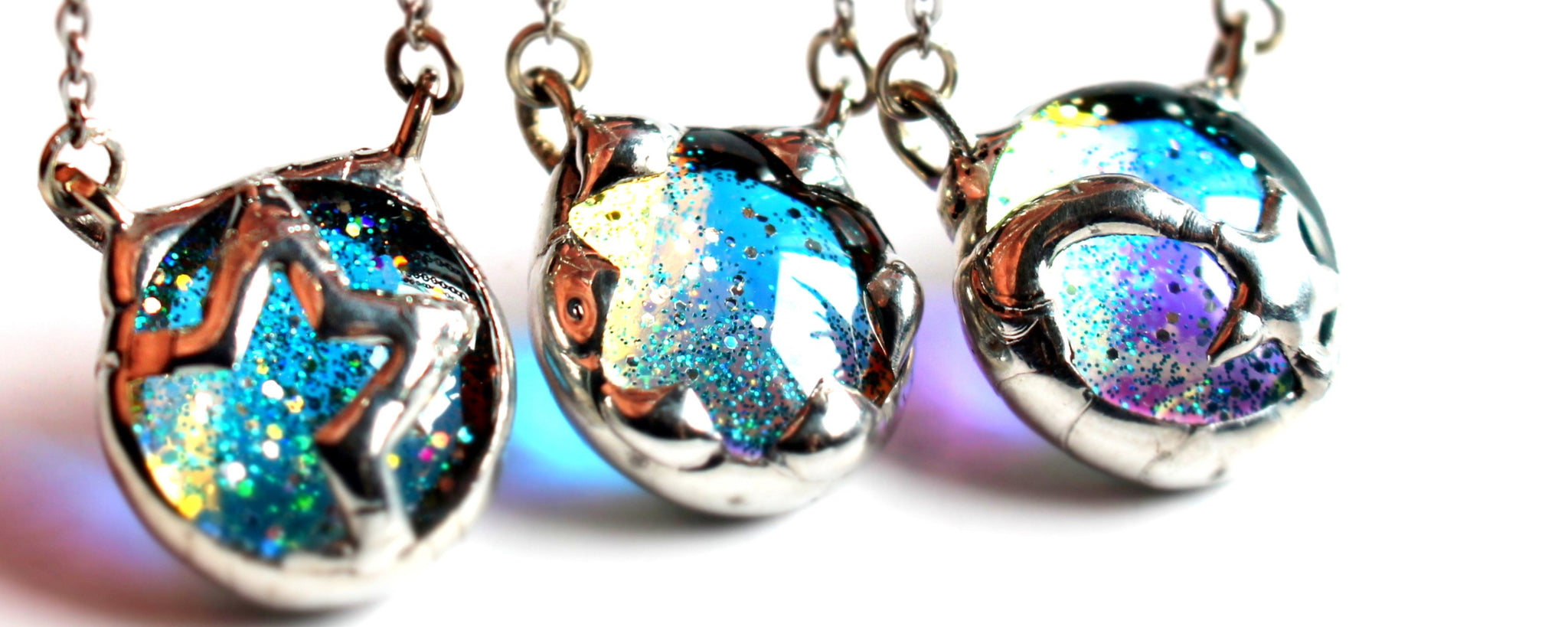 Celestial jewelry in Dichroic glass