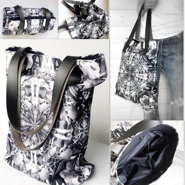 Heavy poly canvas fabric Alaska designer print shoulder bag