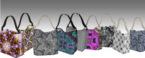 Stretchy neoprene everyday use tote bags in designer prints