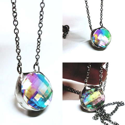 Dainty Double Sided Crystal Dichroic Necklace