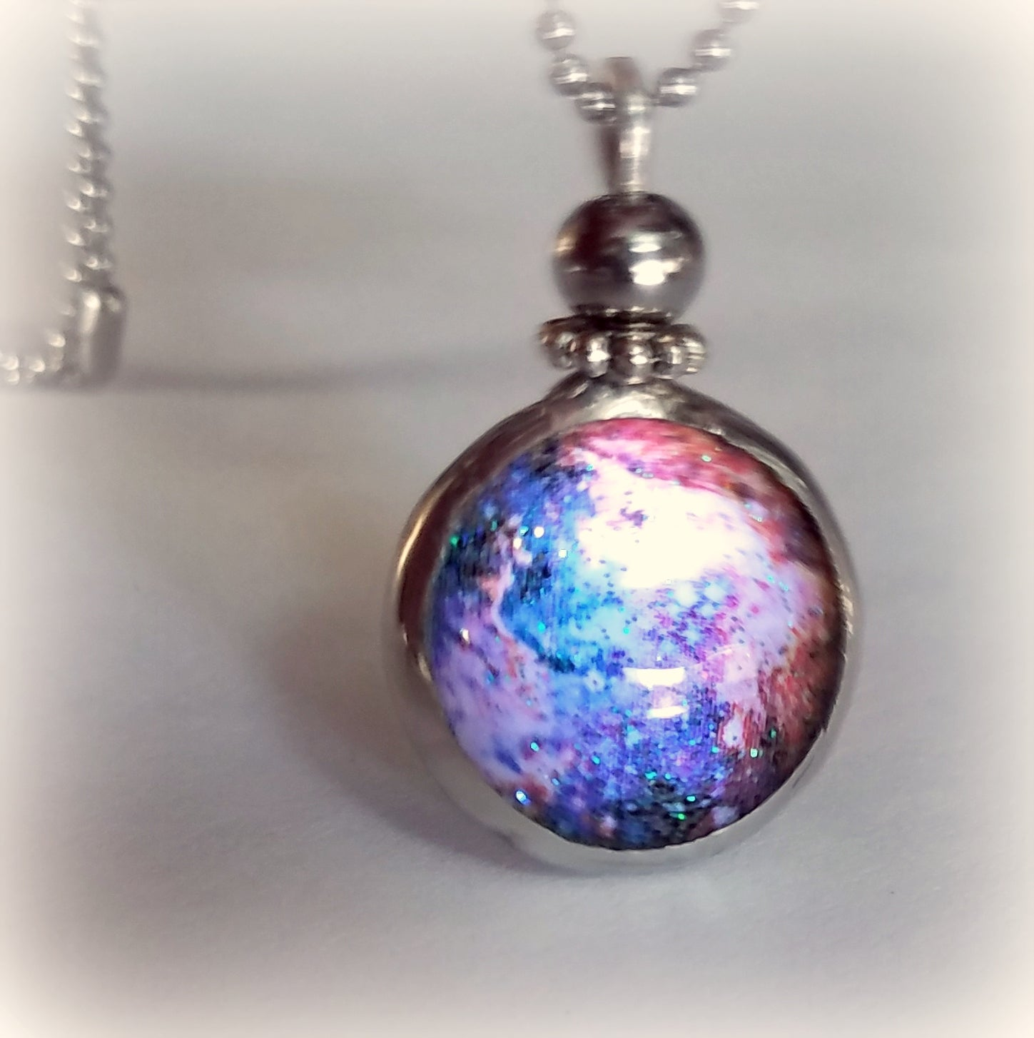 Luminous Blue Galaxy Necklace