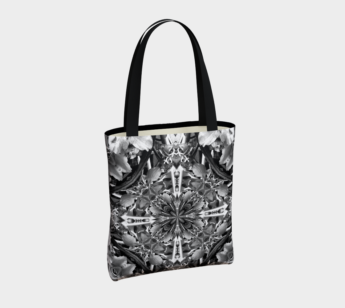 Black and White Fireweed Mandala Bag