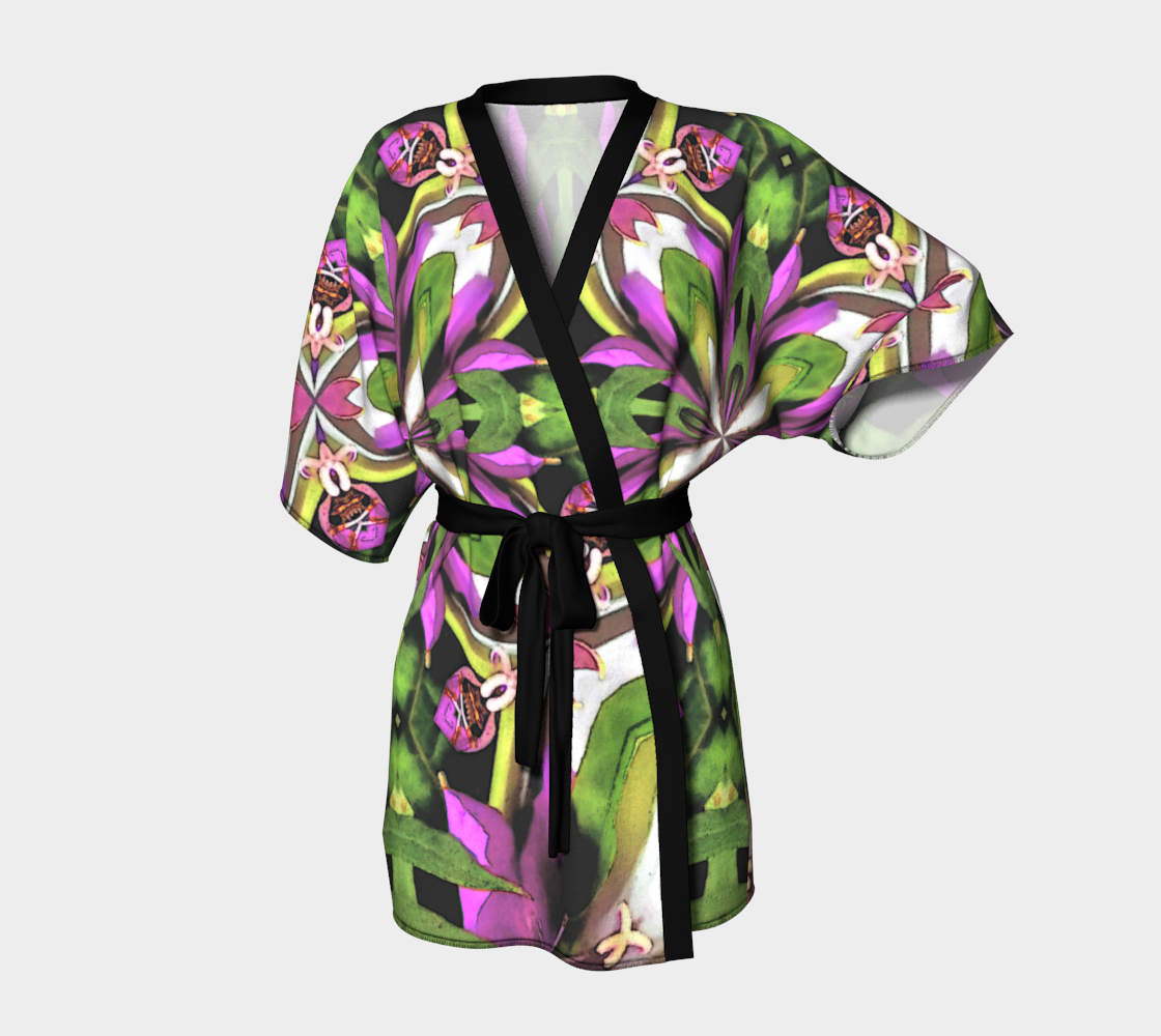 Bright Flower Kimono Robe Short Summer Luxury Fashion