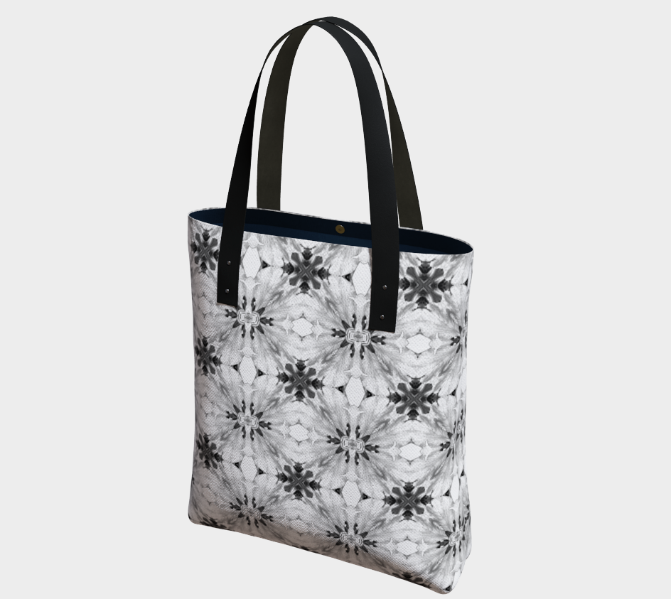 Classic Gray Floral Print Shoulder Bag
