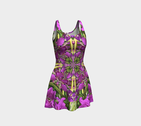 Short flared dress in vivid colored fireweed wildflower mandala print