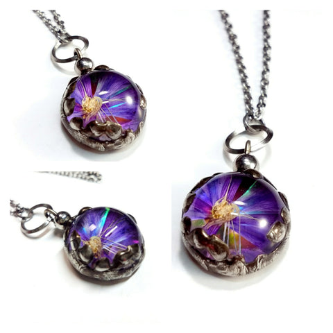 Boho Fashion Jewelry Real Pressed Flowers