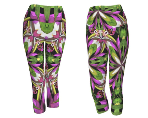 Capri leggings in a vivid color mandala print