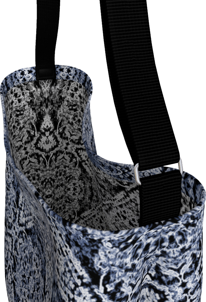 Navy Blue Lace Stretchy Tote Bag