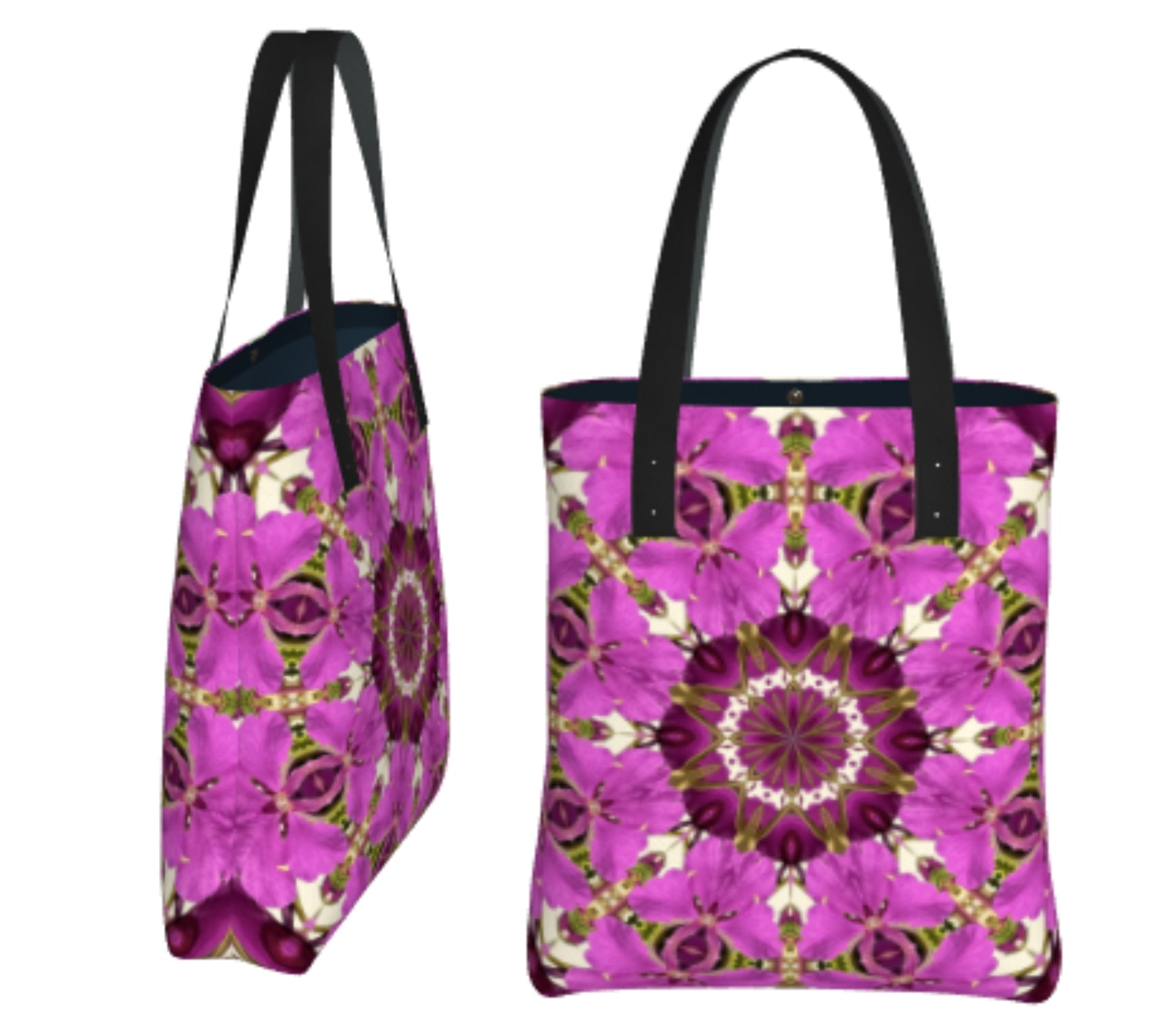 Spring Floral Mandala Shoulder Bag in Tough Poly Fabric