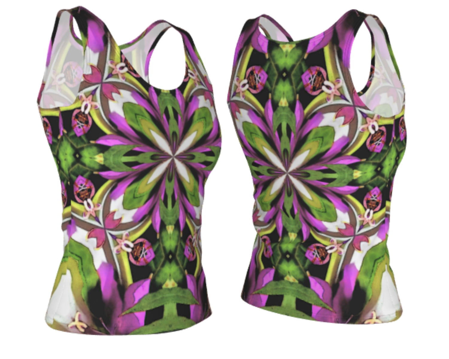 Bright Color Flower Mandala Fitted Tank Top Summer Style Regular Length