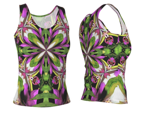 Bright Color Flower Mandala Fitted Tank Top Longer Summer Style
