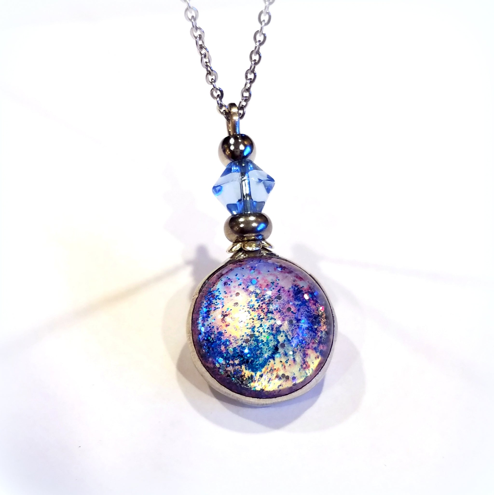 Pale Blue Metallic Gold Dichroic Glass Galaxy Pendant