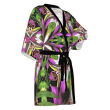 Mandala print Kimono robe in luxury fabric for yoga enthusiast or flower lovers.