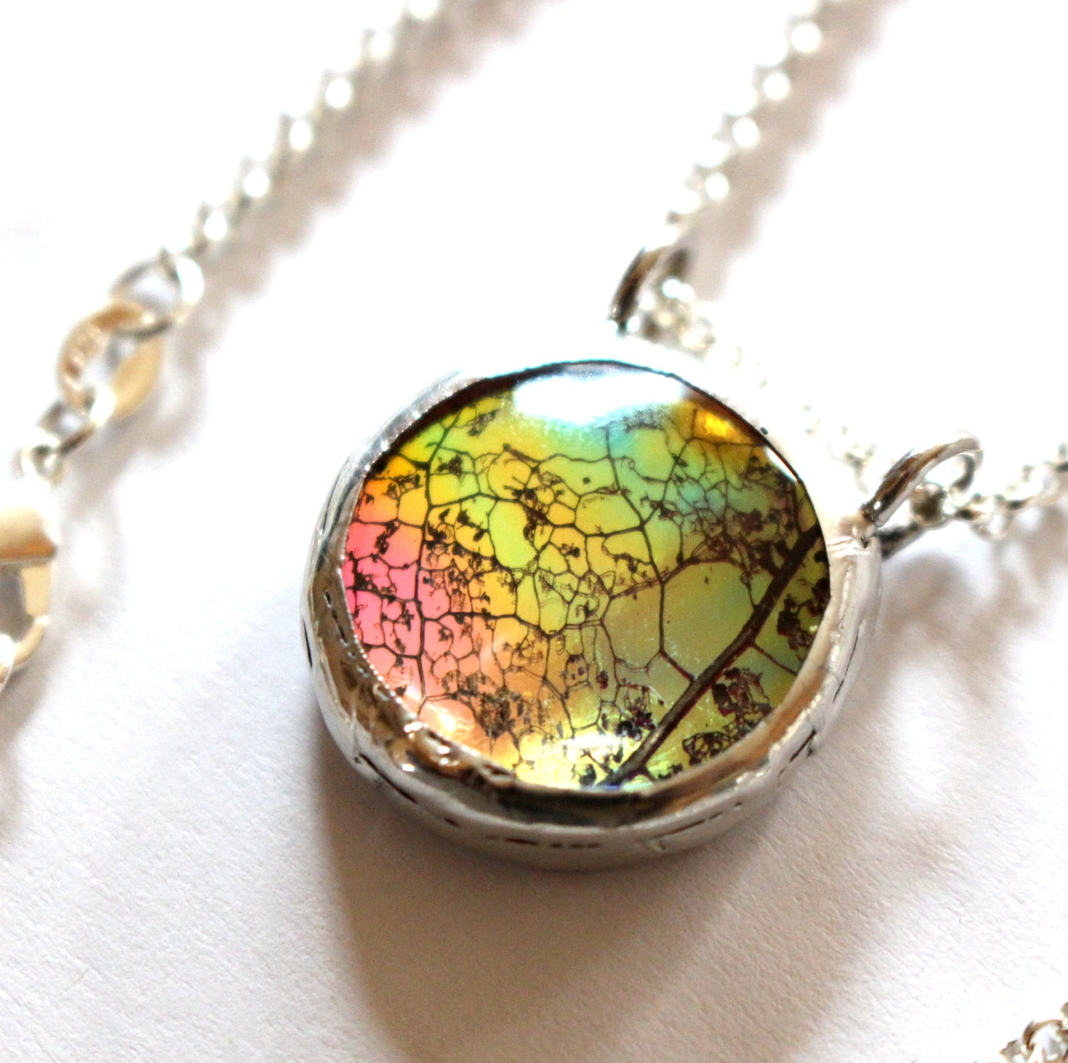 Boho Rainbow Festival Glass Leaf Pendant