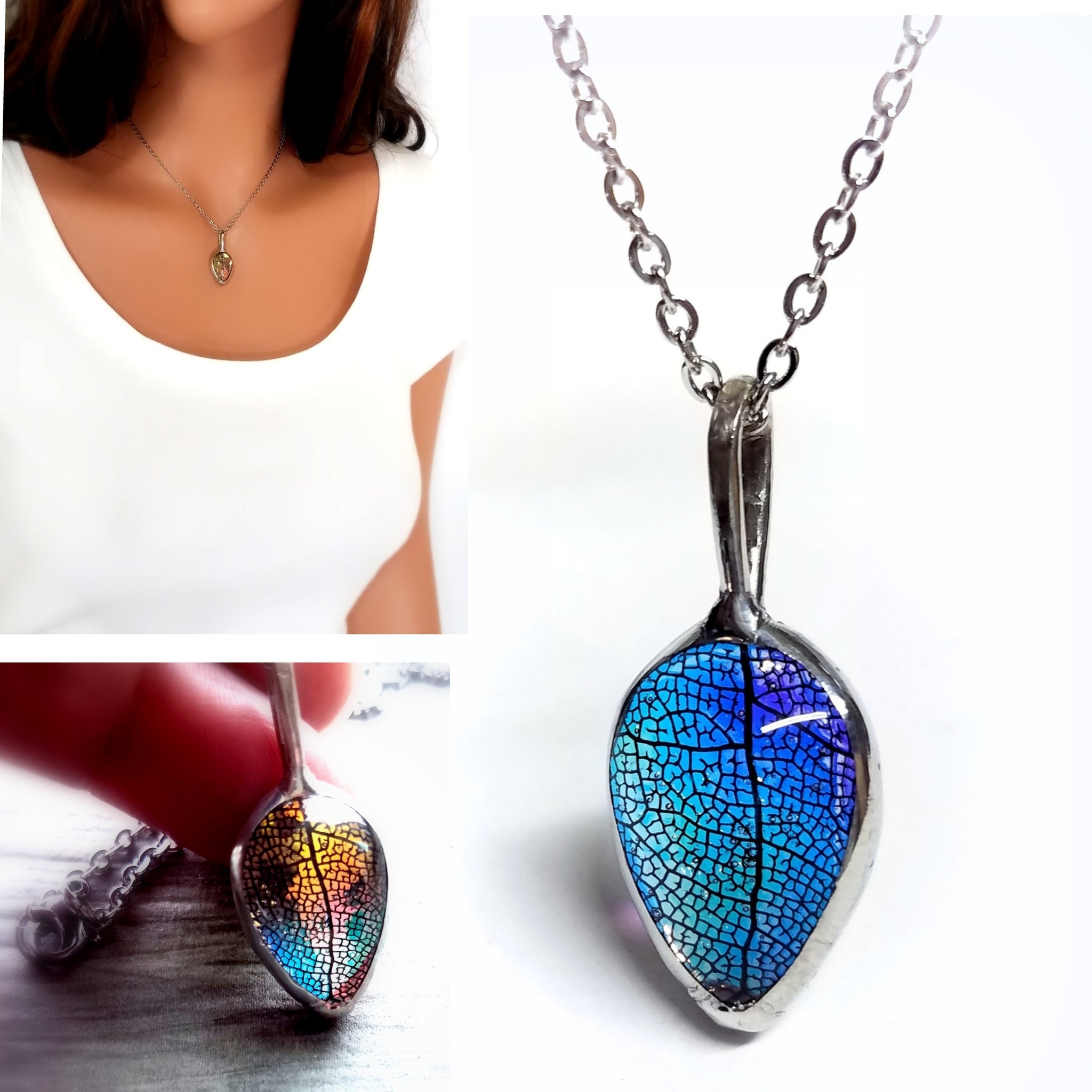 Simple Real Leaf Necklace in Rainbow Glass