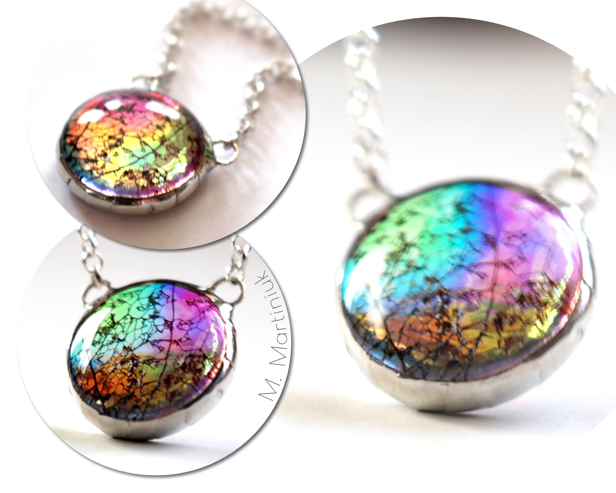 Color Shifting Rainbow Glass Pendant Leaf in Silver