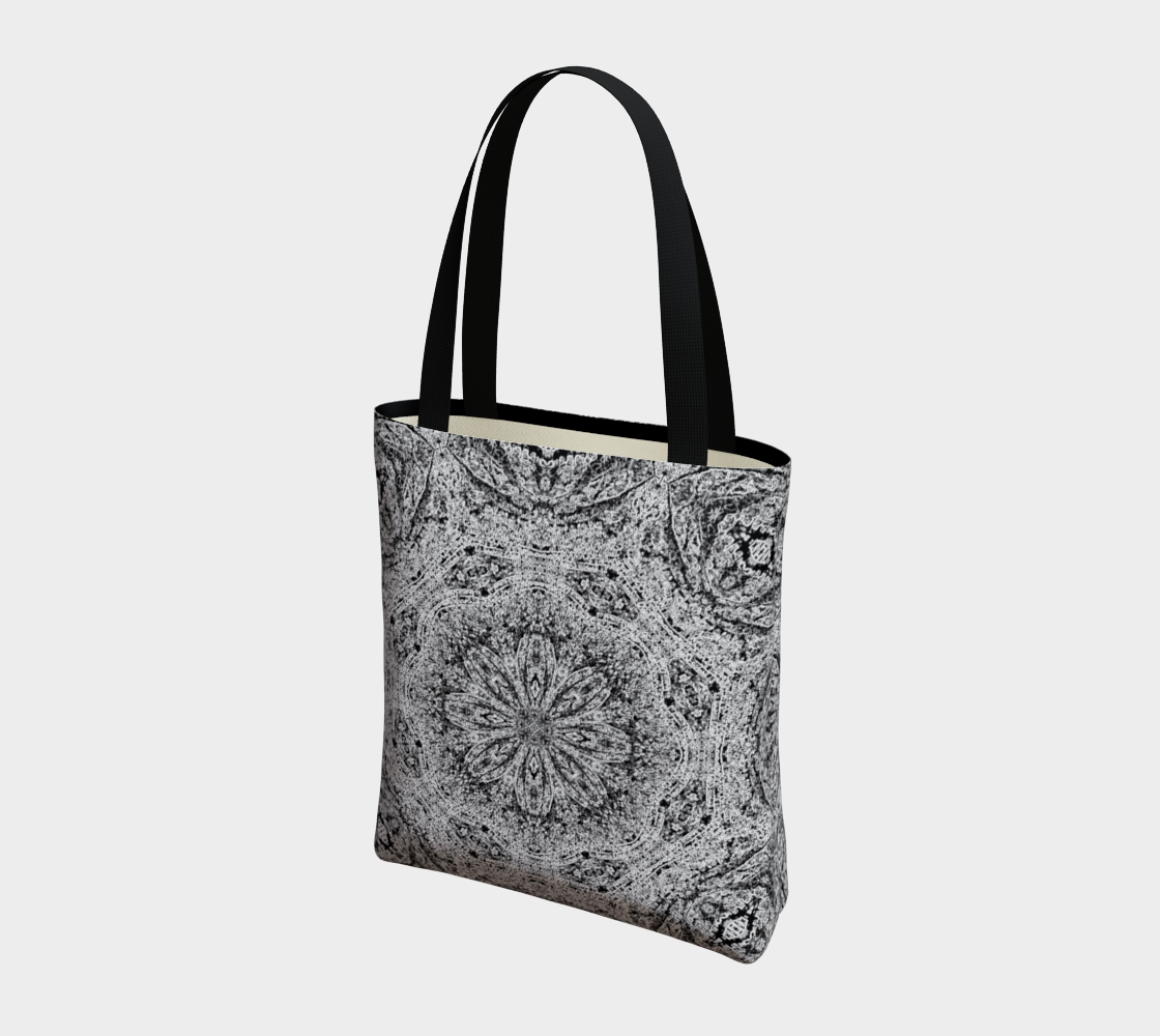 Black and White Lace Print Poly Canvas Shoulder Bag