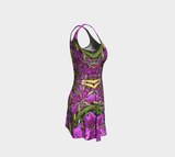 Fireweed Flower Mandala Dress Short Floral Sleeveless Flared Tunic for Dance EDM Rave Yoga
