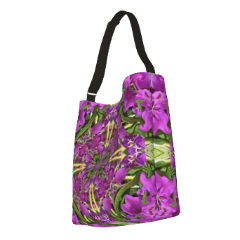 Stretchy tote bag in lively summer flower print for day, purse or carryall.