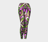 Floral Fractal Designer Yoga Leggings Fold Over Style Long Legging
