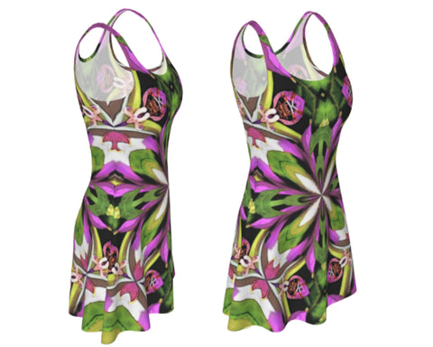 Flared short dress in brightly colored fractal print for costume or everyday