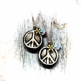 Peace Sign Hippie Essential Oil Diffuser Necklace