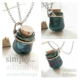 Miniature Pottery Bottle Necklace Aromatherapy Raku Ceramic Oil Diffuser