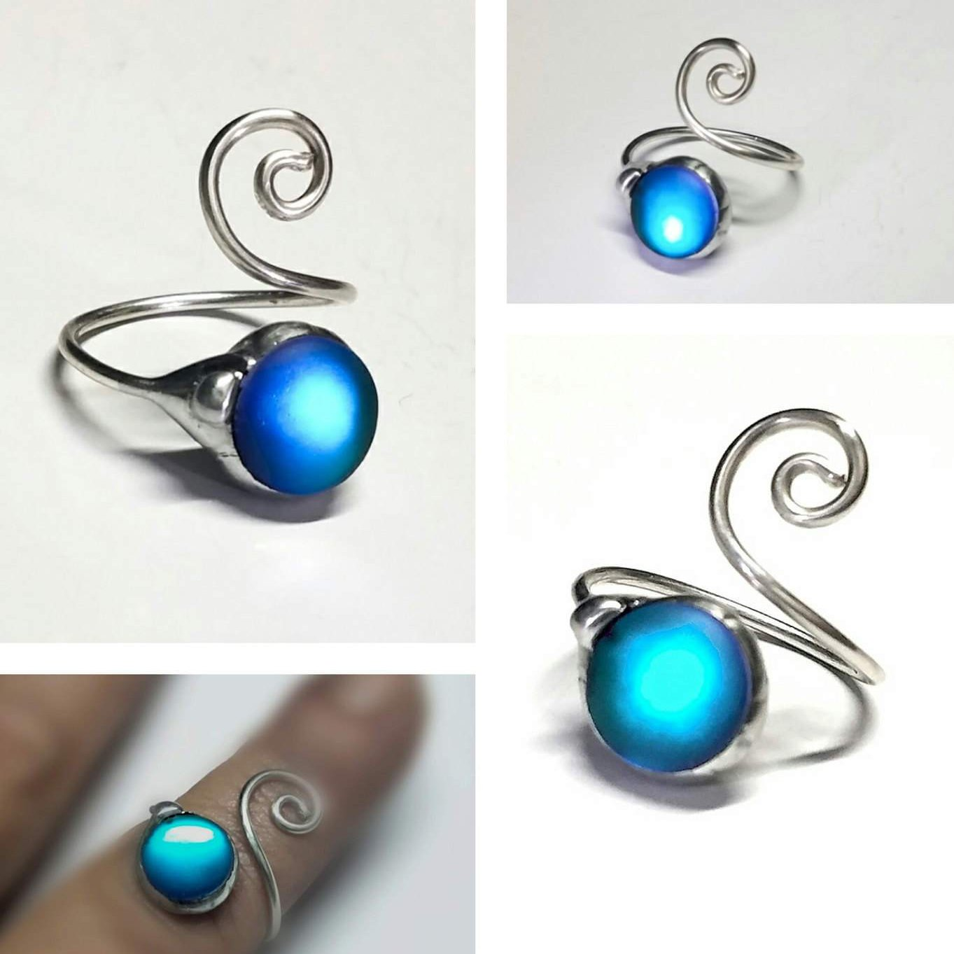 Elven Glow Blue Frosted Glass Ring
