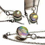 Luminous Glass Orb Jewelry Skeleton Leaf Necklace
