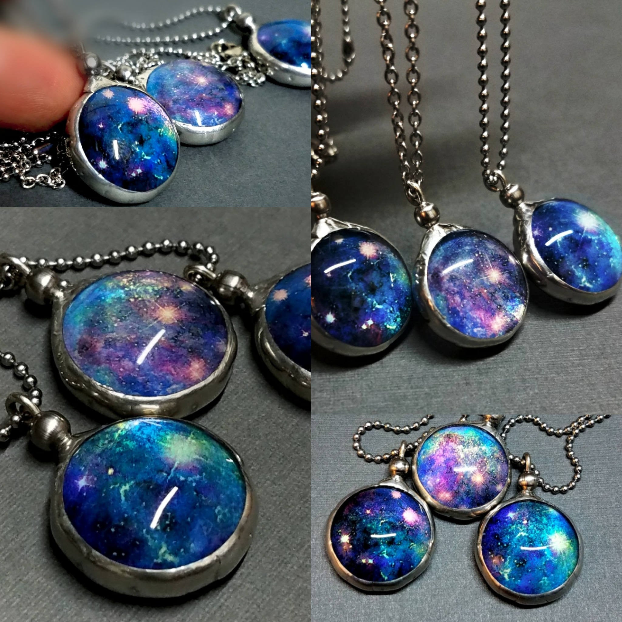 Luminous Nebula Galaxy Necklace Dichroic Glass Outer Space