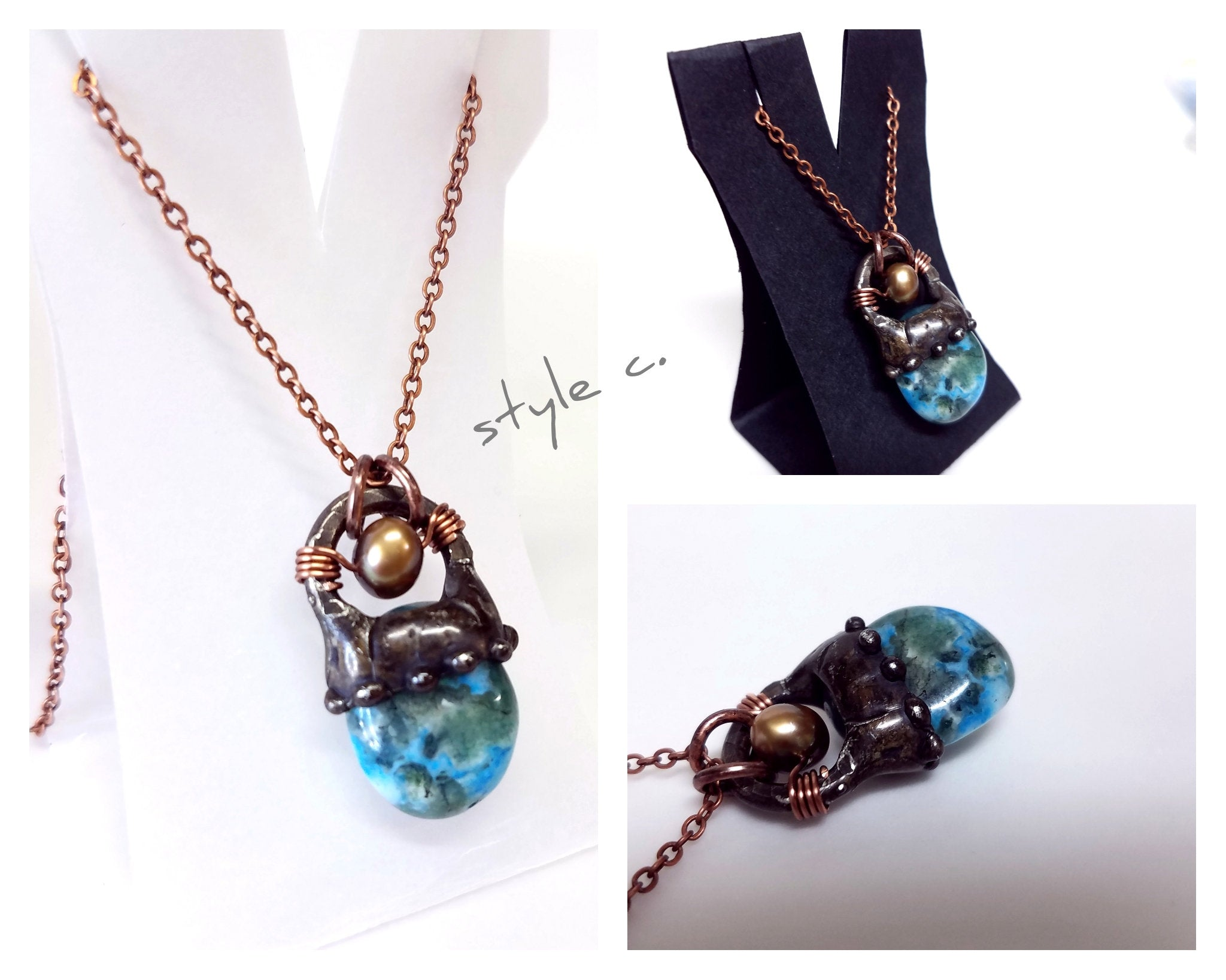 Boho Blue Lace Agate Necklace Layering Choker in Small Chunky Copper