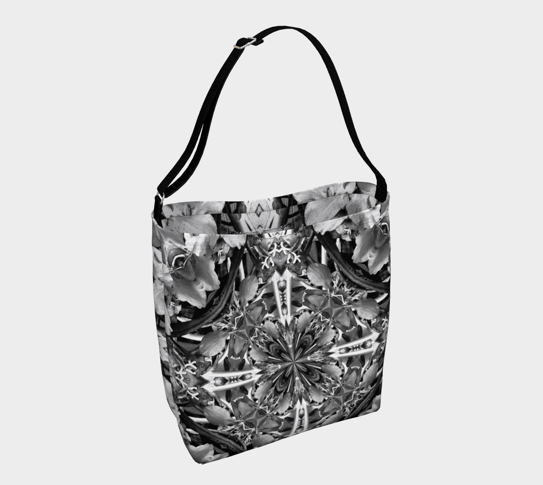 Black and White Floral Print Bag