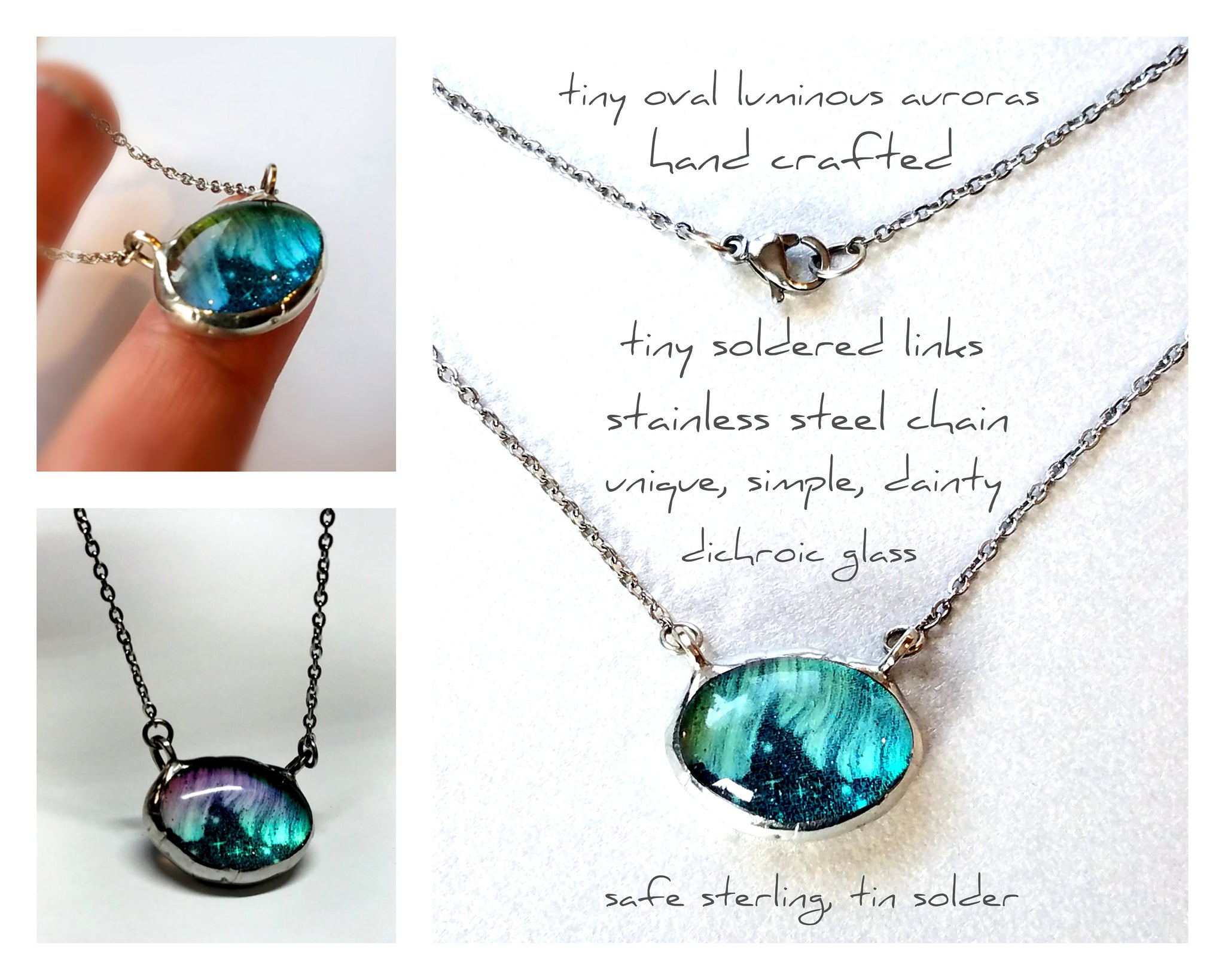 Tiny Oval Luminous Aurora Borealis Necklace