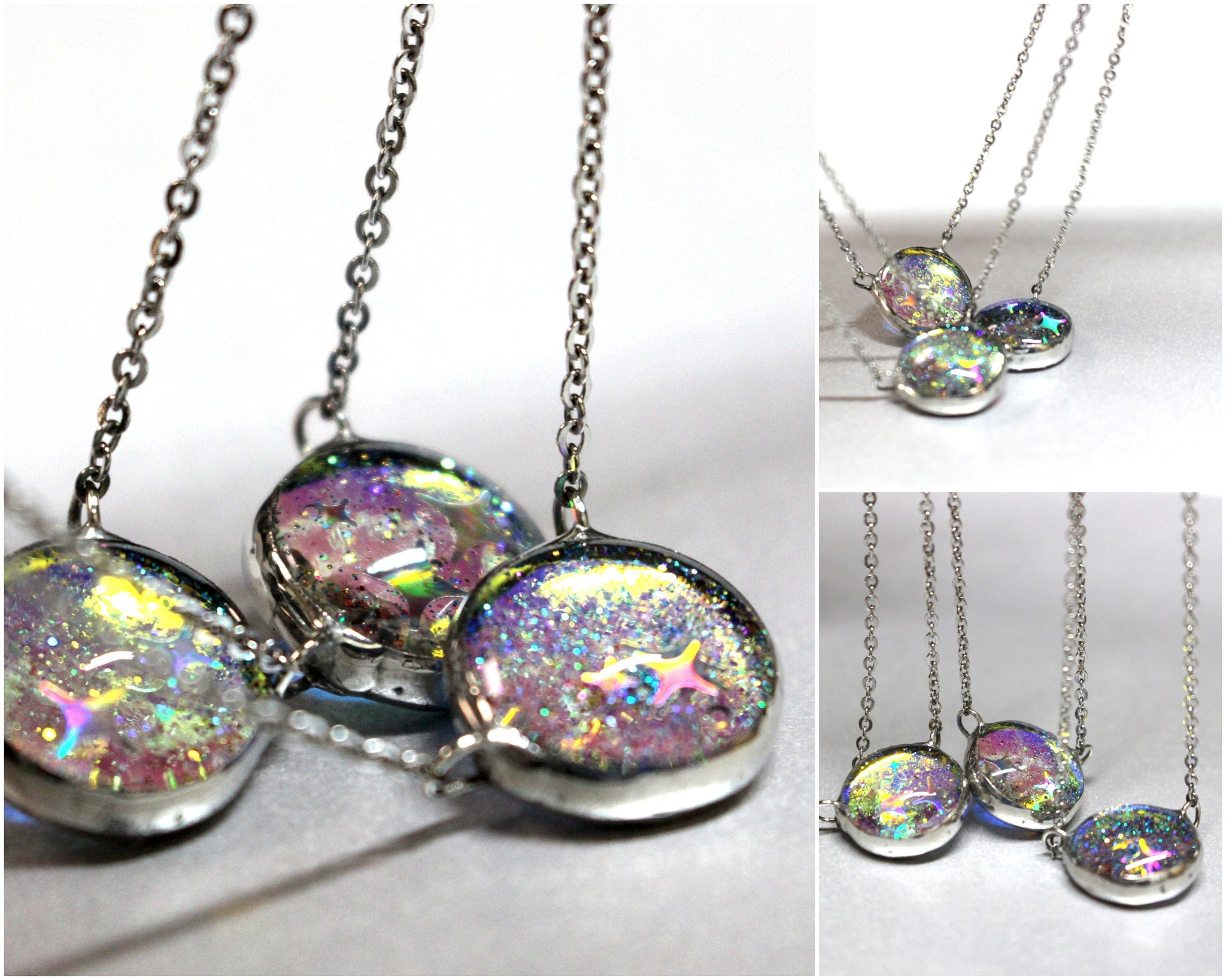 Dainty Holographic Stars Choker Color Change Gold Aura Glass