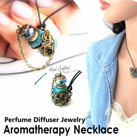 Long Aromatherapy Necklace Perfume Bottle Essential Oils Diffuser Vessel
