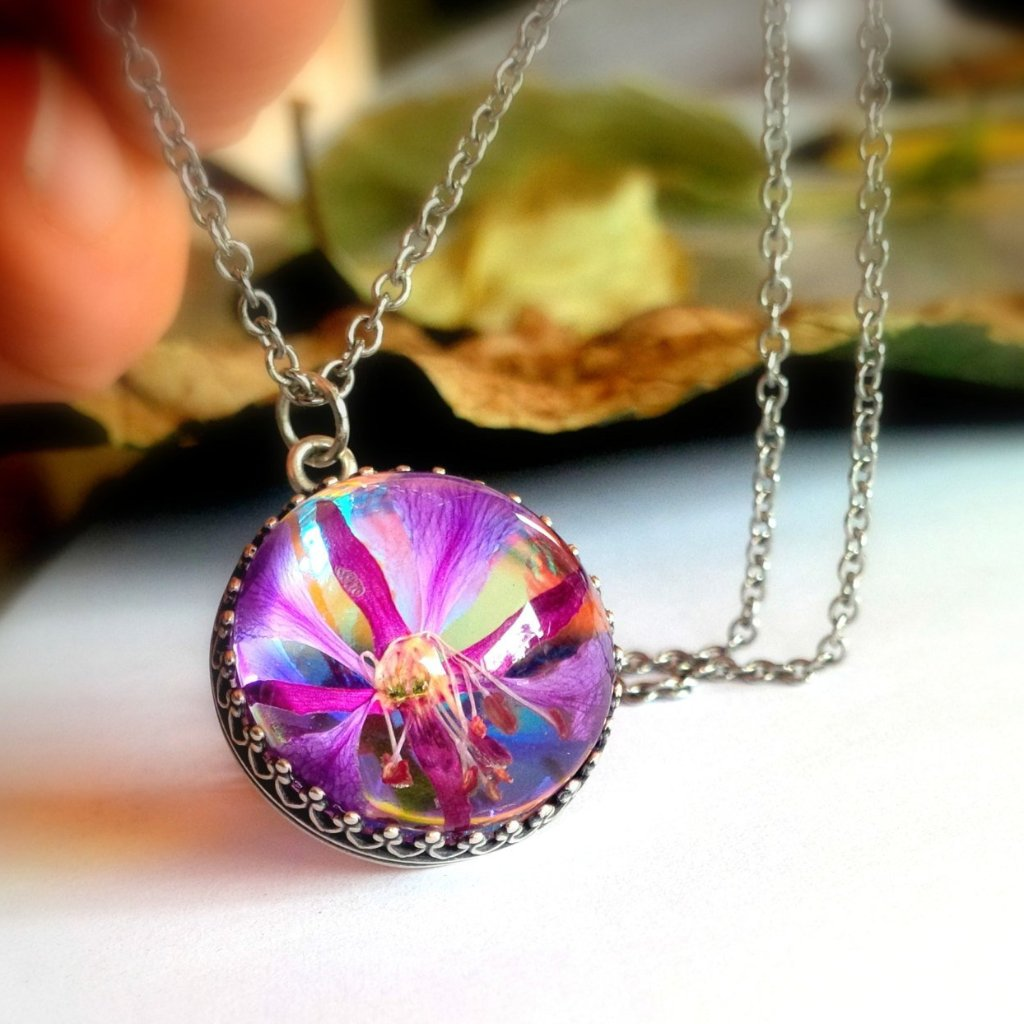 Fireweed Hippie Necklace Pressed Flower Jewelry
