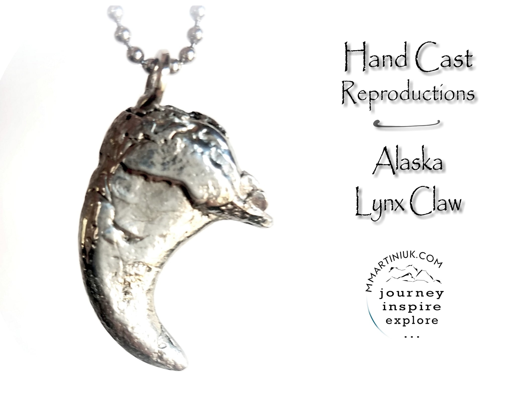 Rustic Alaska Lynx Claw Necklace Hand Cast Small Claw Jewelry