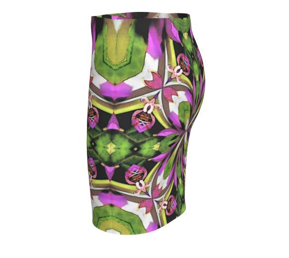 Nature Fractal Print Fitted Short Skirt Stretchy Fabric Active Wear for Her