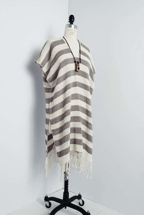 Poncho - Striped Alpaca/Cotton