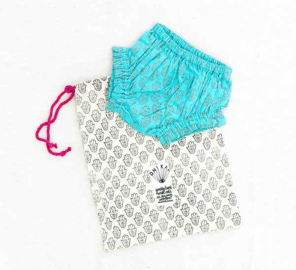 block-printed baby bloomers