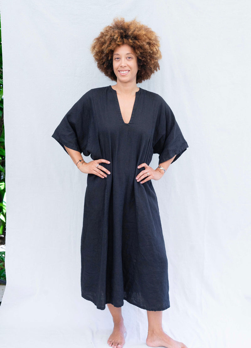 * made to order * linen caftan black