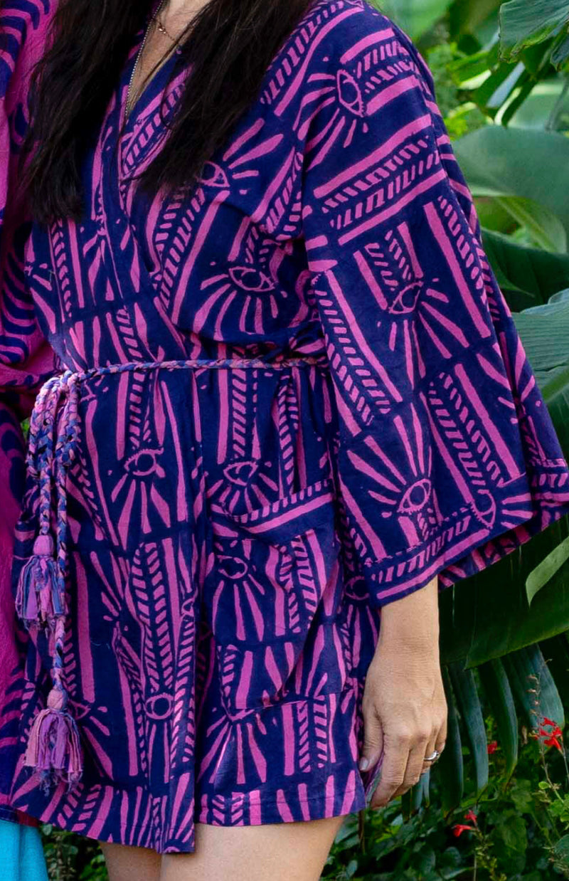 *NEW* hand-dyed block-printed robe