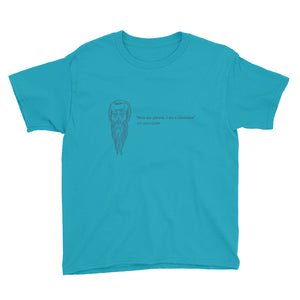 Youth Short Sleeve T-Shirt - With St. Polycarp's image and quote (steel gray image)