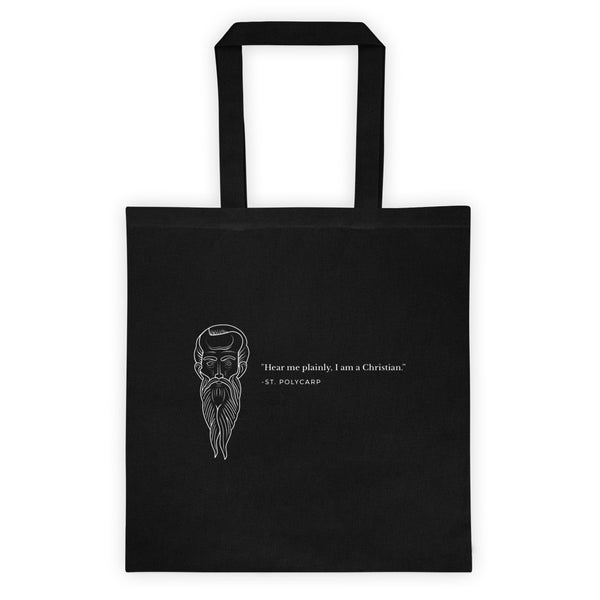 Tote bag - With St. Polycarp's image and quote (white image)