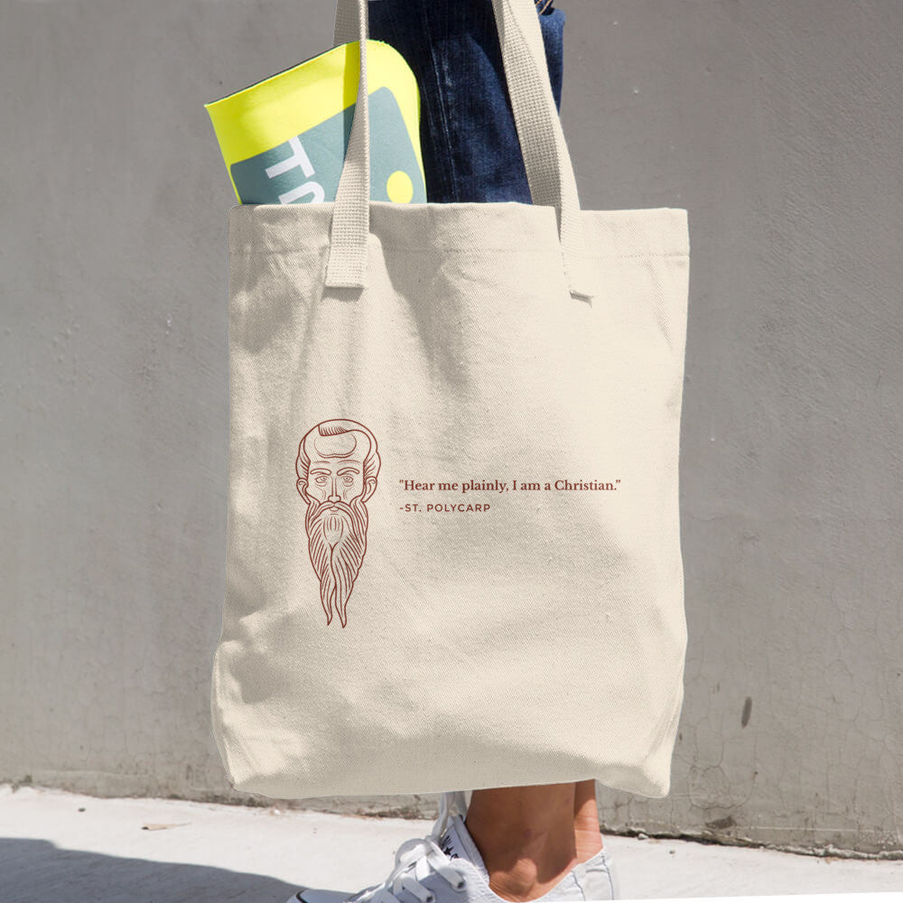 Cotton Tote Bag - With St. Polycarp's image and quote (blood red image)