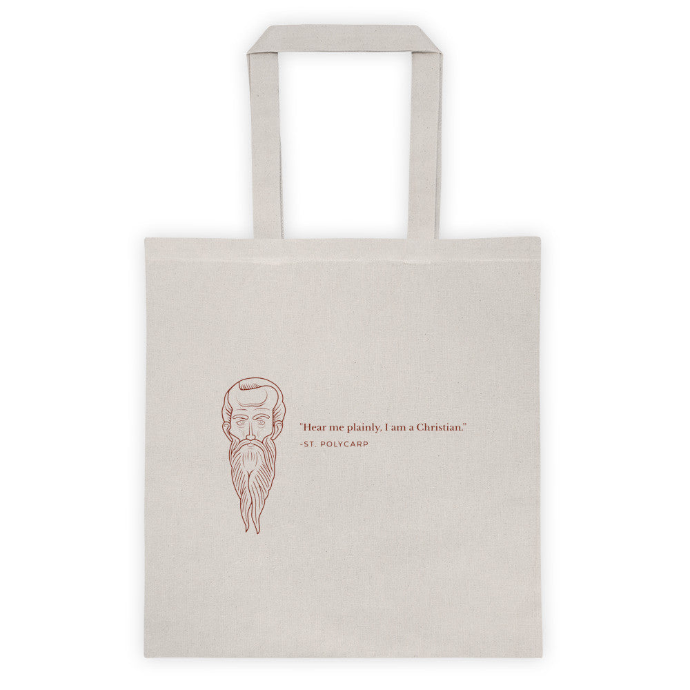 Tote bag - With St. Polycarp's image and quote (blood red image)